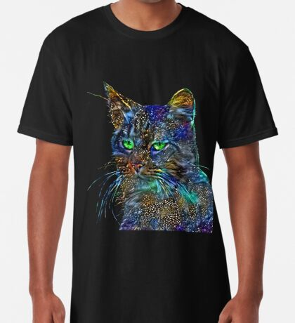 Artificial neural style Starry night wild cat Long T-Shirt
