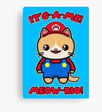Cute Cat Funny Kawaii Mario Parody Canvas Print