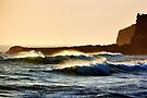 Backlight, cliff & waves by Garth Smith