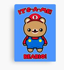 Bear Cute Funny Kawaii Mario Parody Canvas Print