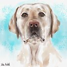 Watercolor Portrait of a Curious Yellow Labrador on a Light Blue Background by ibadishi