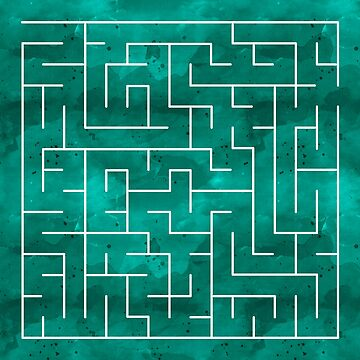 Amazing Maze - green design on watercolor texture background by quokkacreative