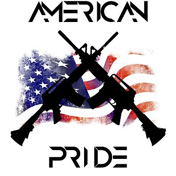 AMERICAN PRIDE USA FALG GUN RELATED T-SHIRT by vicekingwear