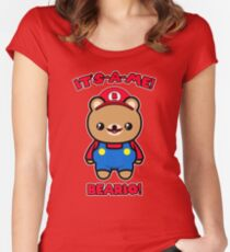 Cute Bear Funny Kawaii Mario Parody Women's Fitted Scoop T-Shirt