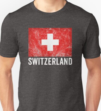 Switzerland Flag Distressed Vintage Swiss Souvenir T-Shirt