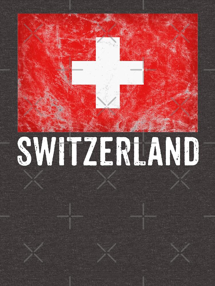 Switzerland Flag Distressed Vintage Swiss Souvenir by thespottydogg