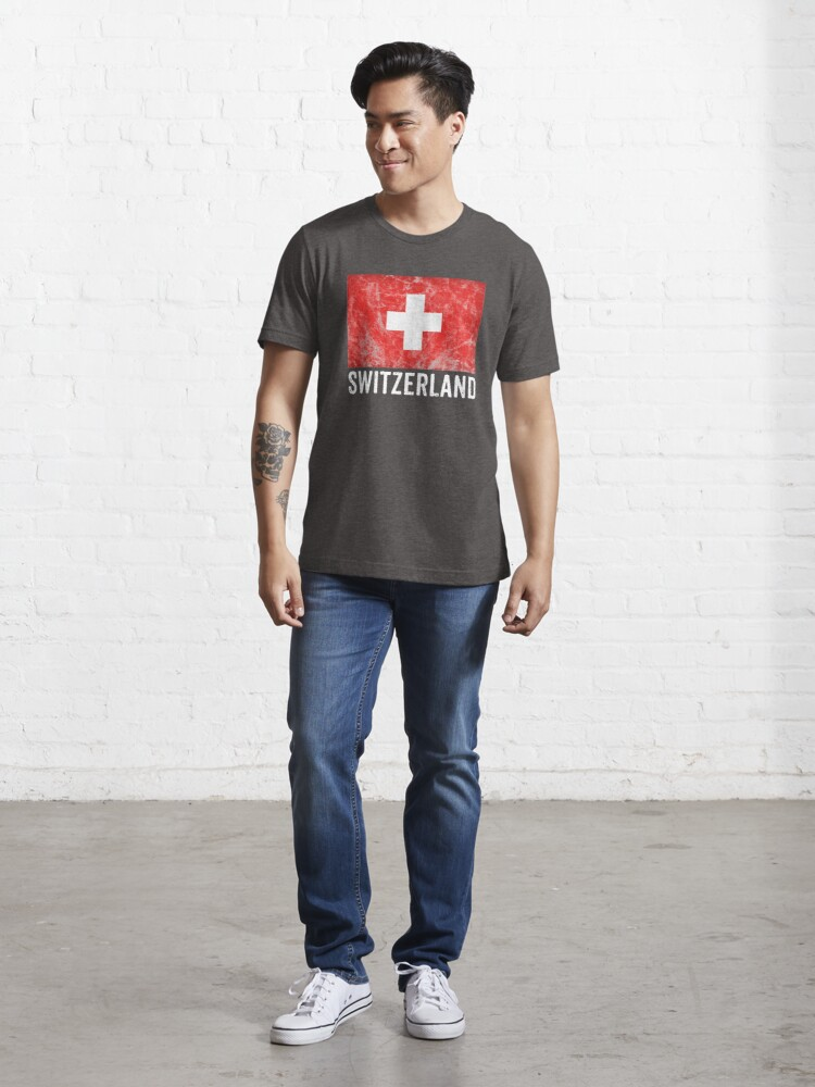 Alternate view of Switzerland Flag Distressed Vintage Swiss Souvenir Essential T-Shirt