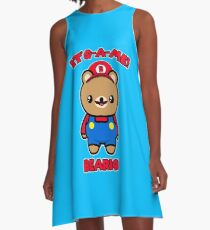 Bear Cute Funny Kawaii Mario Parody A-Line Dress