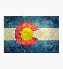 Colorado State Flag with vintage retro style treatment Photographic Print