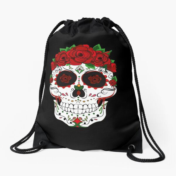 Floral Sugar Skull - Sugar Skull With Roses  Drawstring Bag