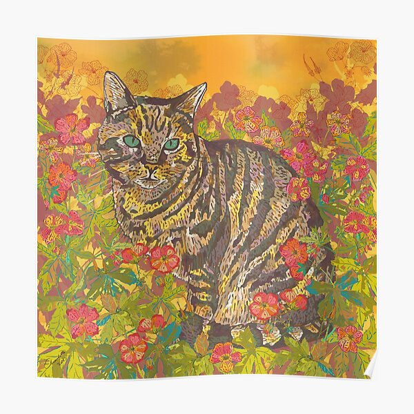 Tabby Cat Afternoon in the Sun Poster
