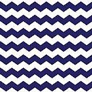 Navy Blue and White Chevron Print by itsjensworld