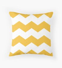 Mustard Yellow Chevron Print Throw Pillow