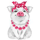 Funny pig wearing bandana  by Gribanessa