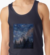 Pine trees and galaxies watercolor painting by Bazil Zerinsky Tank Top