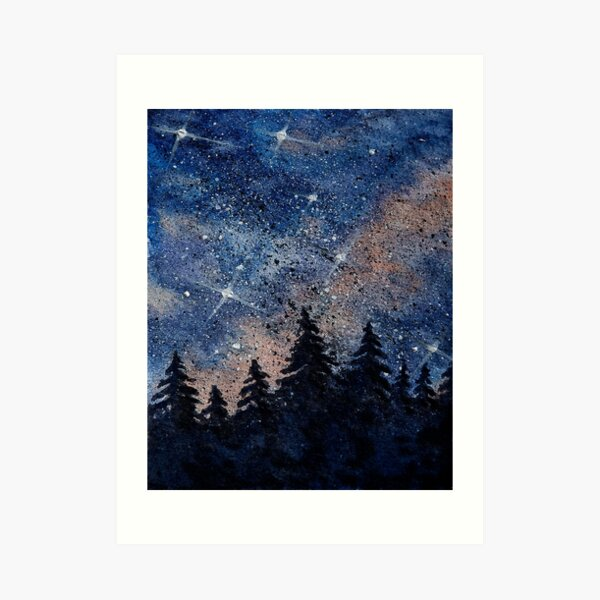 Pine trees and galaxies watercolor painting by Bazil Zerinsky Art Print