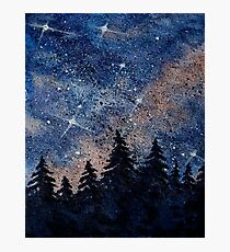 Pine trees and galaxies watercolor painting by Bazil Zerinsky Photographic Print