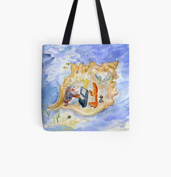 Music in a Seashell All Over Print Tote Bag