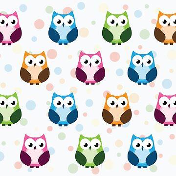 Owl Pattern Polka Dots by Viatorem