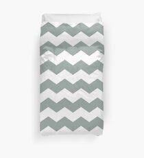 Medium Gray Green Chevron Print Duvet Cover