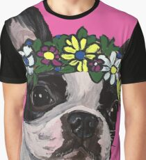 Boston Terrier With Flower Crown Graphic T-Shirt