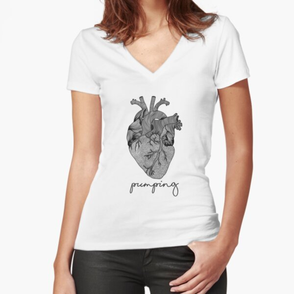Pumping heart Fitted V-Neck T-Shirt