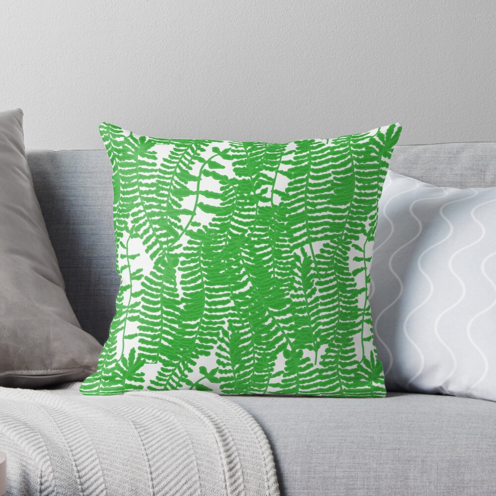 Tropical Frilly leafed sword fern Throw Pillow