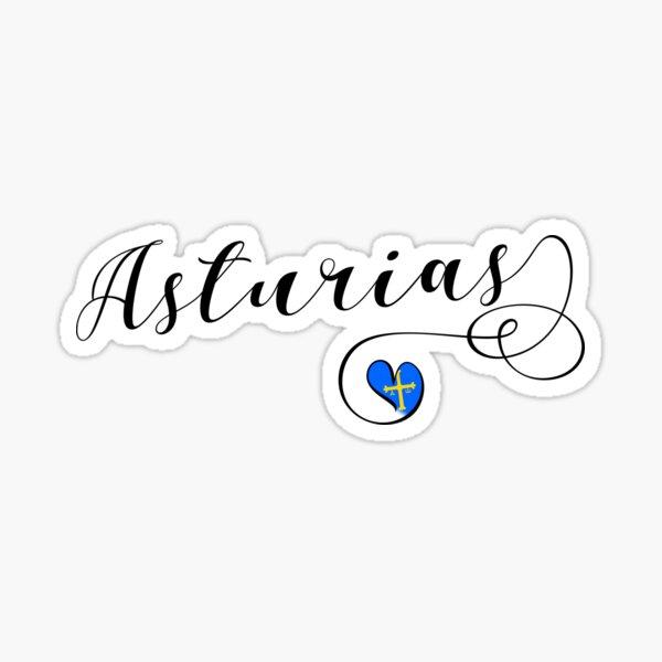 Asturias Flag Heart, Asturies, Spain Sticker