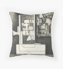 Architectural shapes on a black background Throw Pillow