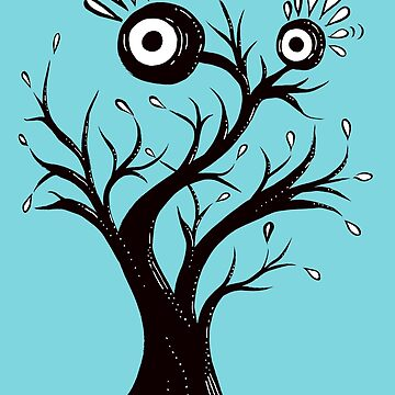 Excited Tree Monster Ink Drawing by azzza