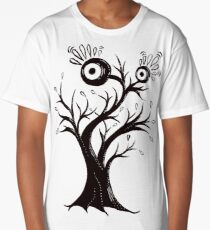 Excited Tree Monster Ink Drawing Long T-Shirt