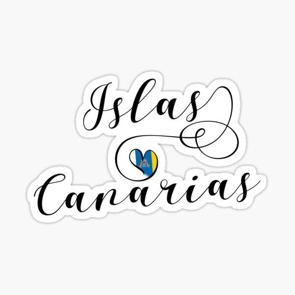 Islas Canarias, Islas Canarias Corazón de la bandera, amo las Canarias, Tenerife, España Pegatina