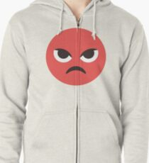 Red Angry Face Zipped Hoodie