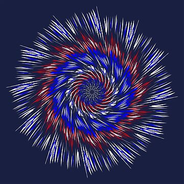 Red white And blue On Blue Mandala  by Gypsykiss