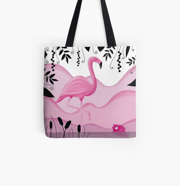 Pink Flamingo Allover-Print Tote Bag