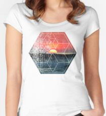 Nature and Geometry - Lovely Sunset at Sea Women's Fitted Scoop T-Shirt
