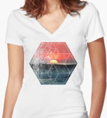 Nature and Geometry - Lovely Sunset at Sea Women's Fitted V-Neck T-Shirt