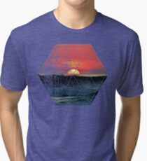 Nature and Geometry - Lovely Sunset at Sea Tri-blend T-Shirt