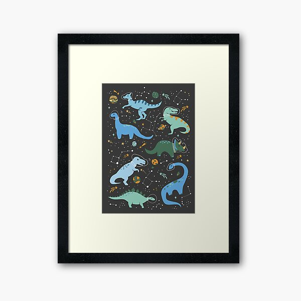 Space Dinosaurs in Blue Framed Art Print
