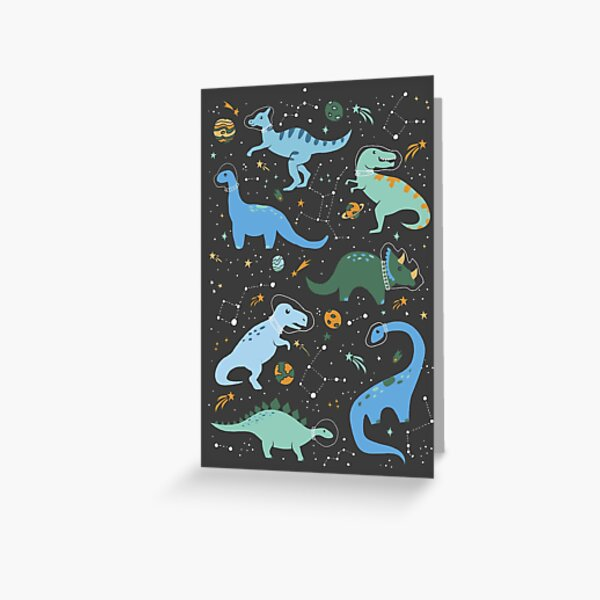 Space Dinosaurs in Blue Greeting Card