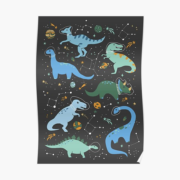 Space Dinosaurs in Blue Poster