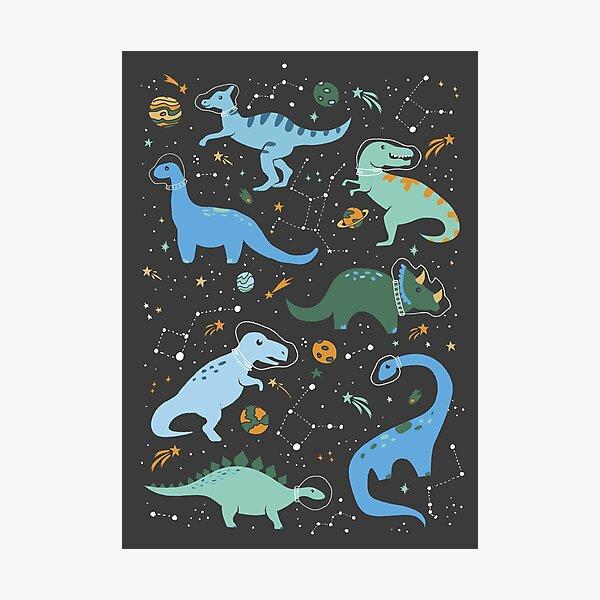 Dinosaurios espaciales en azul Lámina fotográfica