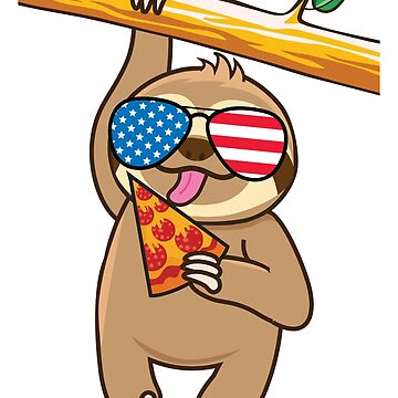 Cute Sloth Pizza July Fourth by plushism