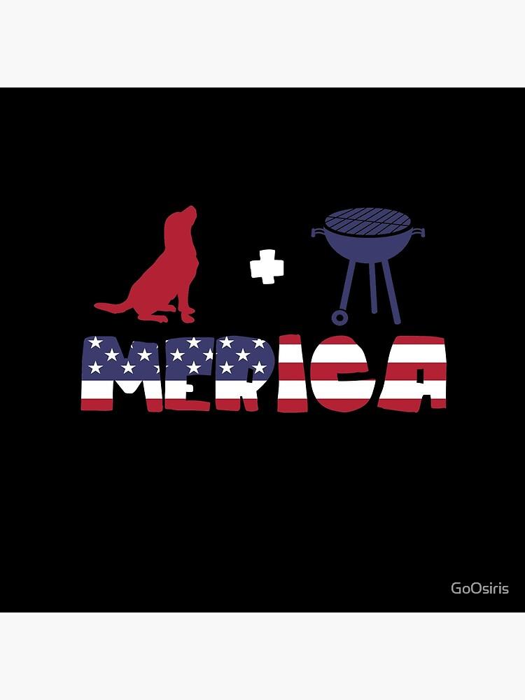 Funny Dog plus Barbeque Merica American Flag de GoOsiris