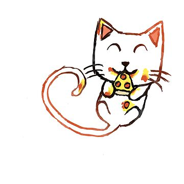 Messy Pizza Cat Sticker by PikachuHat
