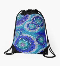 Blue Seeds Of Life Bubbles - Art&Deco By Natasha Drawstring Bag