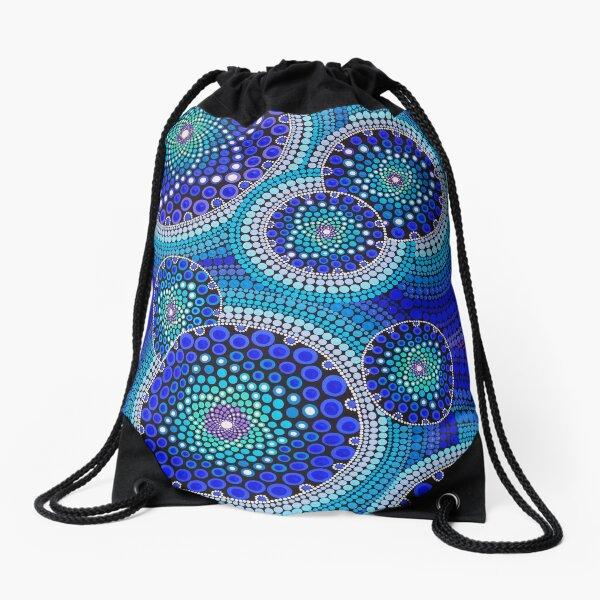 Blue Seeds Of Life Bubbles - Art&Deco By Natasha Drawstring Bag