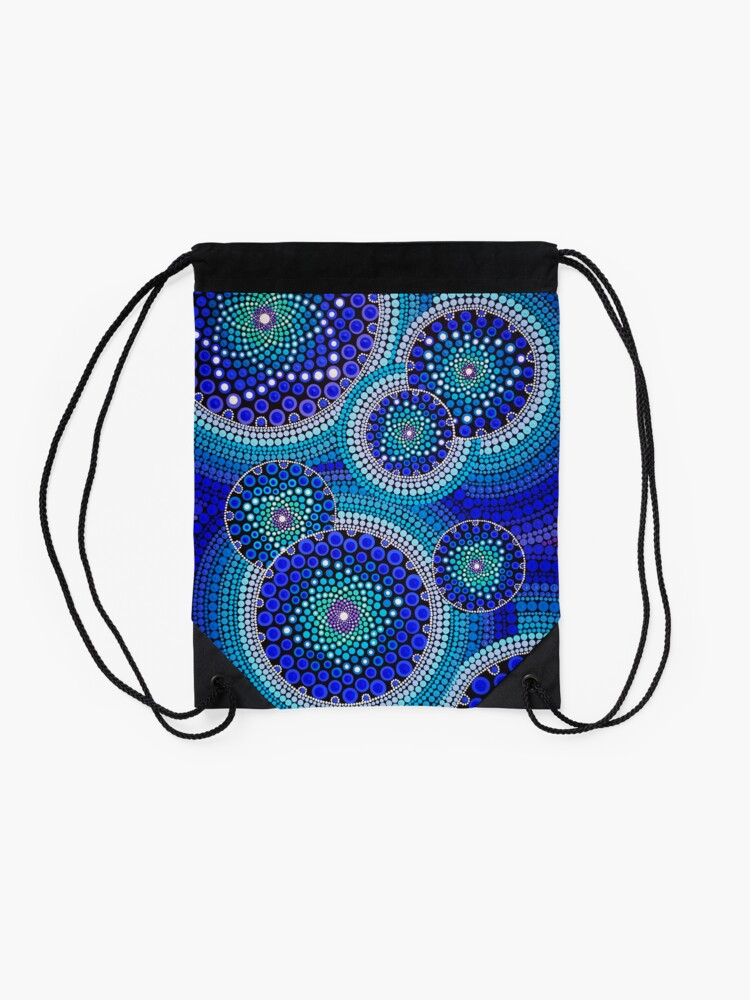 Alternate view of Blue Seeds Of Life Bubbles - Art&Deco By Natasha Drawstring Bag