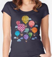 Camiseta entallada de cuello redondo Noche de globo de aire caliente