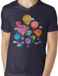 Hot Air Balloon Night Mens V-Neck T-Shirt